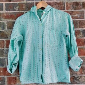Vintage teal long sleeve shirts, sz small